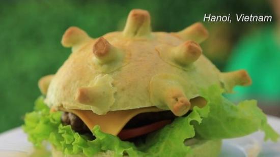 """越南餐厅卖""""新冠汉堡"""",寓意战胜病毒"""
