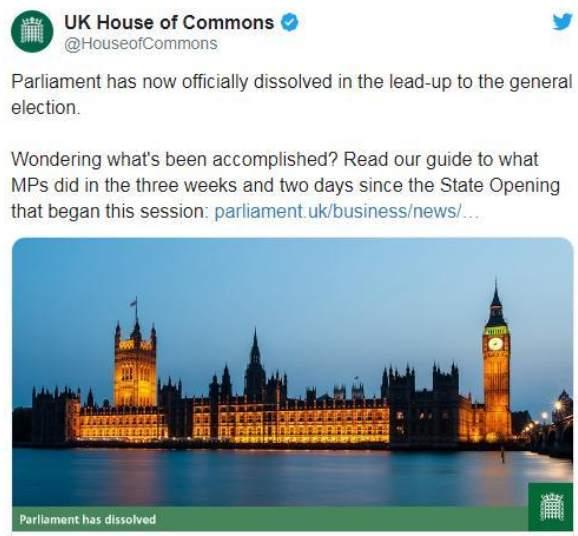 英国议会宣布正式解散